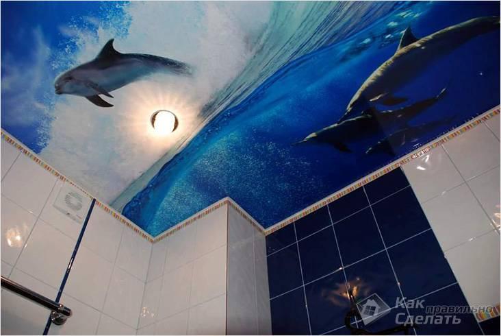 Дизайн натяжных потолков в ванной