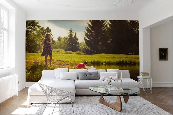 Как выбрать фотообои для гостиной